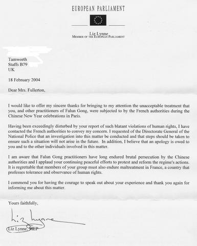 Reply Letter From Ms Liz Lynne MEP I Applaud Your