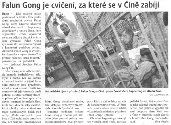 Media in Brno Continue to Report on the Persecution Against Falun Gong