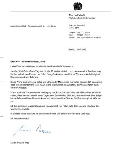 German politicians send greetings for world falun dafa day letter from martin patzelt mp in the german parliament m4hsunfo